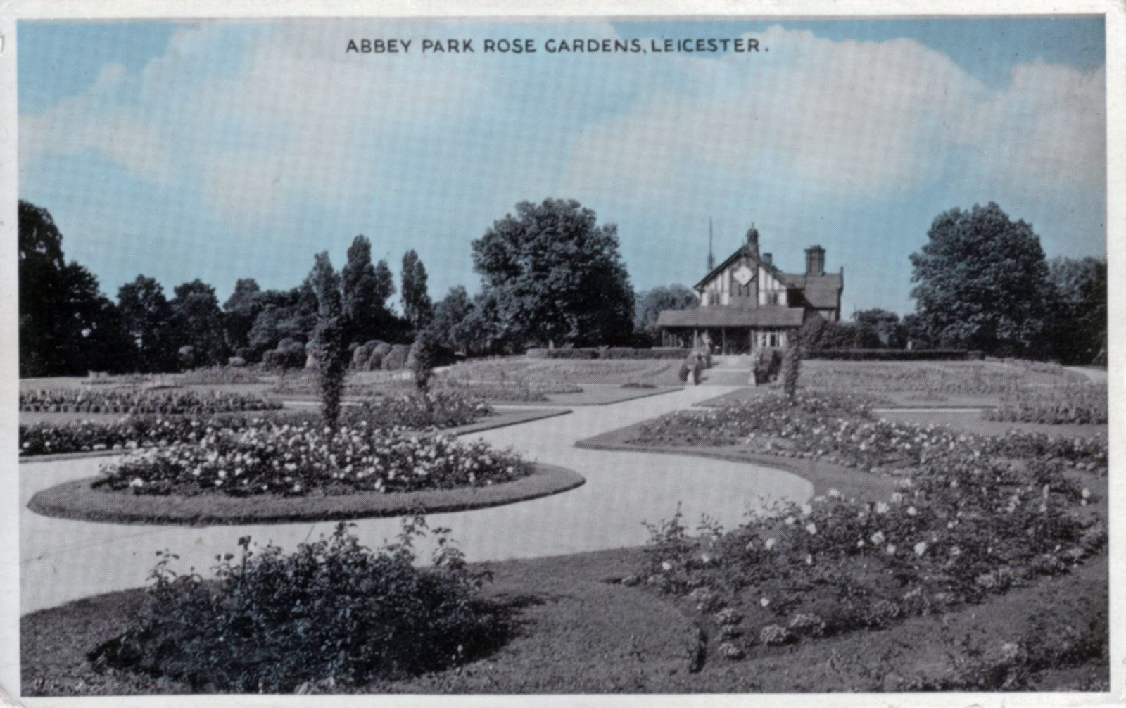 Abbey Park, Leicester. Undated: The Rose garden and Pavilion. (File:1269)