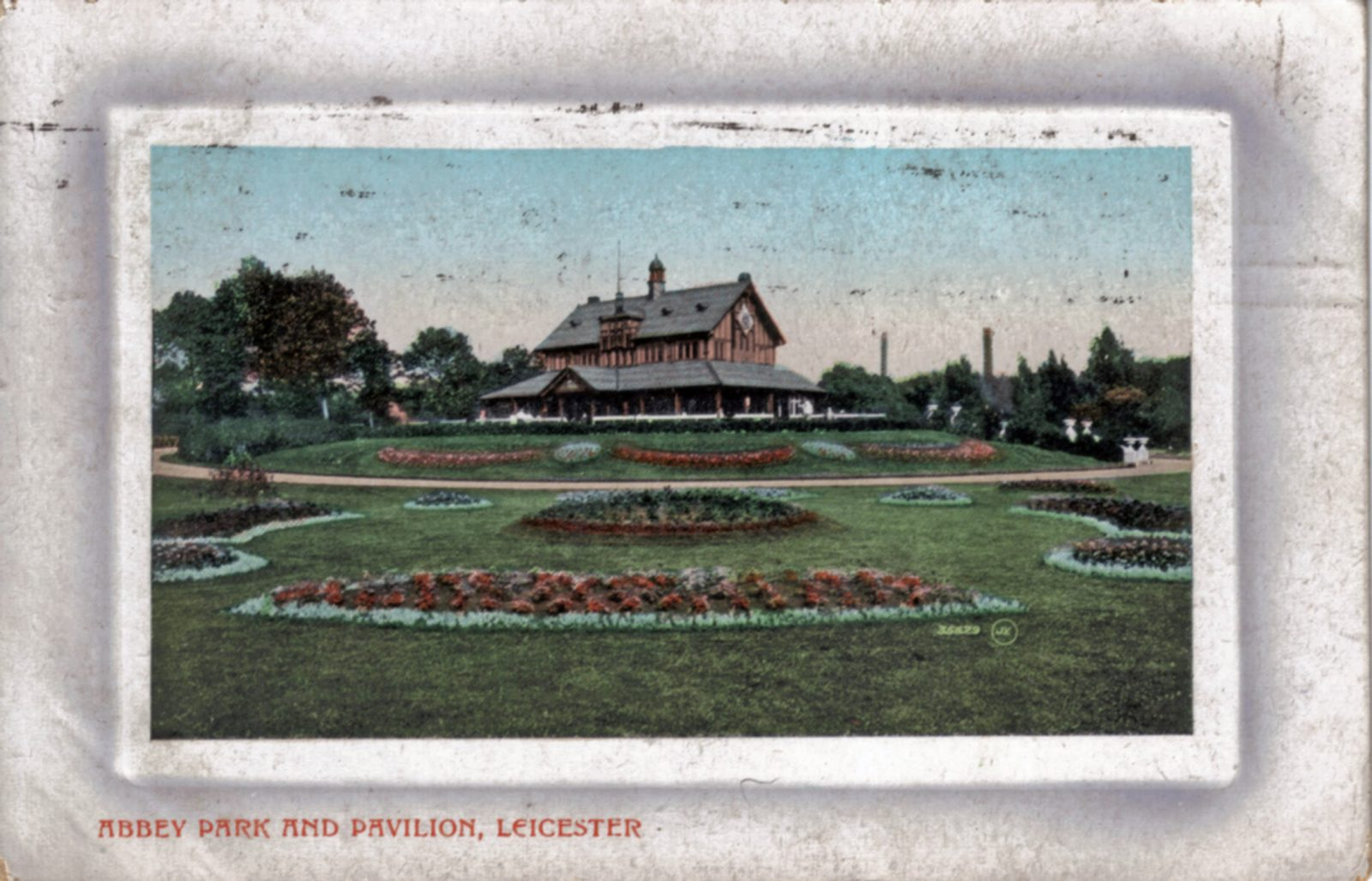 Abbey Park, Leicester. 1901-1920: The Pavilion and formal bedding. Franked 1910 (File:1276)
