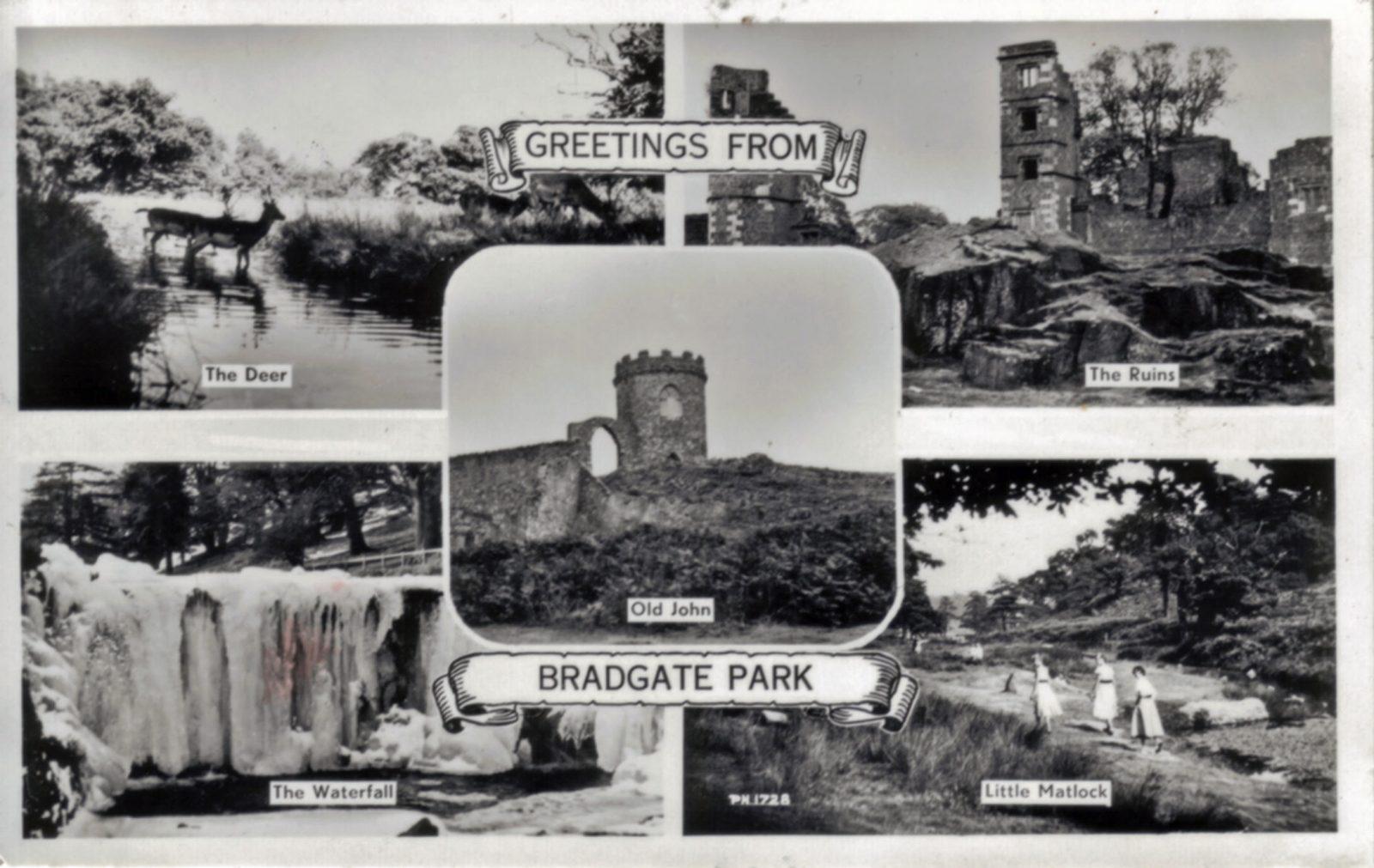 Bradgate Park, Leicester. 1941-1960: 5 views: deer, ruins, waterfall, Old John, Little Matlock. (File:1308)
