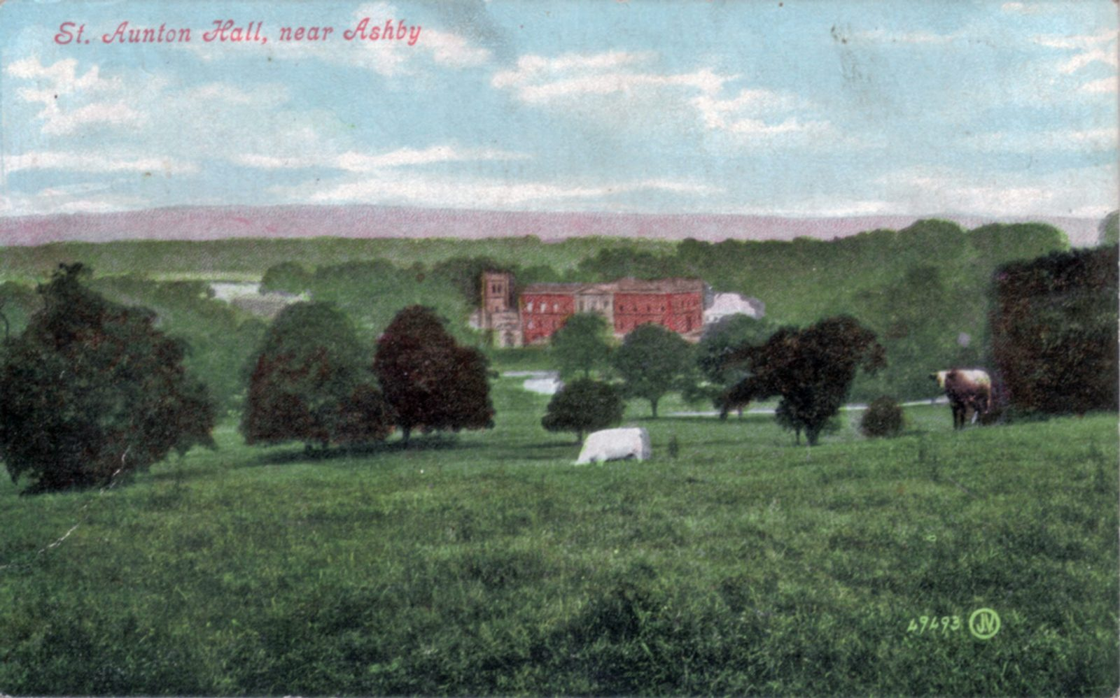 Staunton Harold, Ashby-De-La-Zouch. 1901-1920: View of Hall across parkland. Labelled St. Aunton Hall! (File:1330)