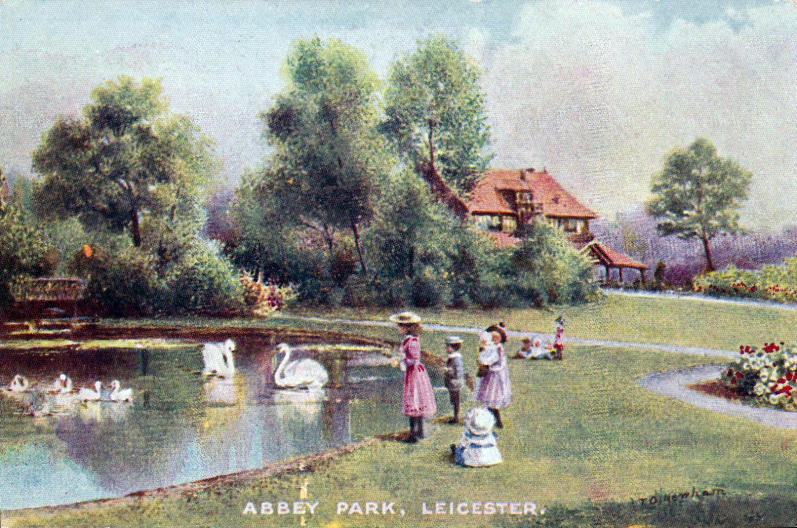 Abbey Park, Leicester. 1901-1920: The lake and pavilion with a number of children. Taken from a painting. (File:1440)