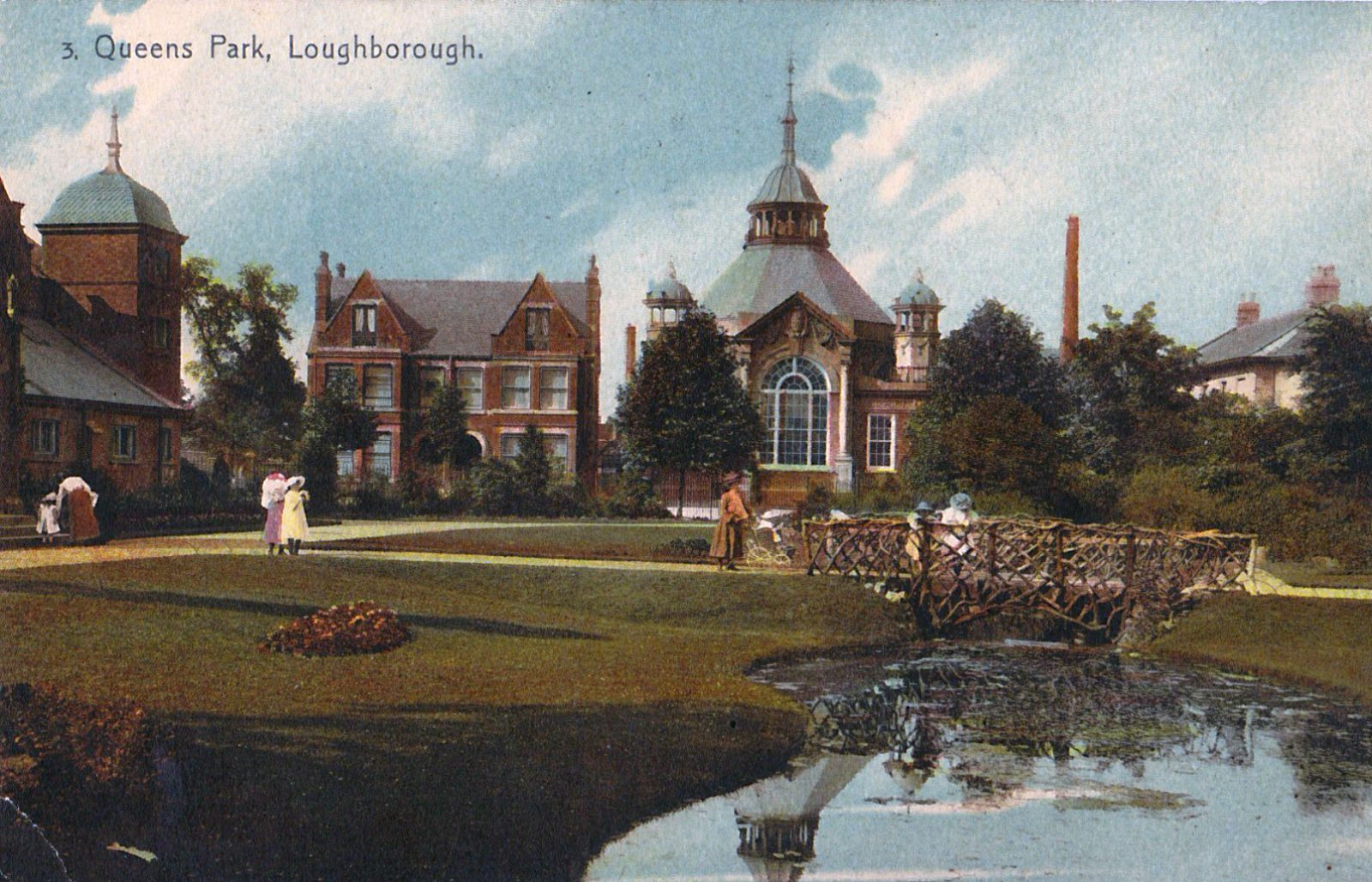 Queens Park, Loughborough. 1901-1920: The Library and bath house with pond and rustic bridge in foreground. (File:1450)