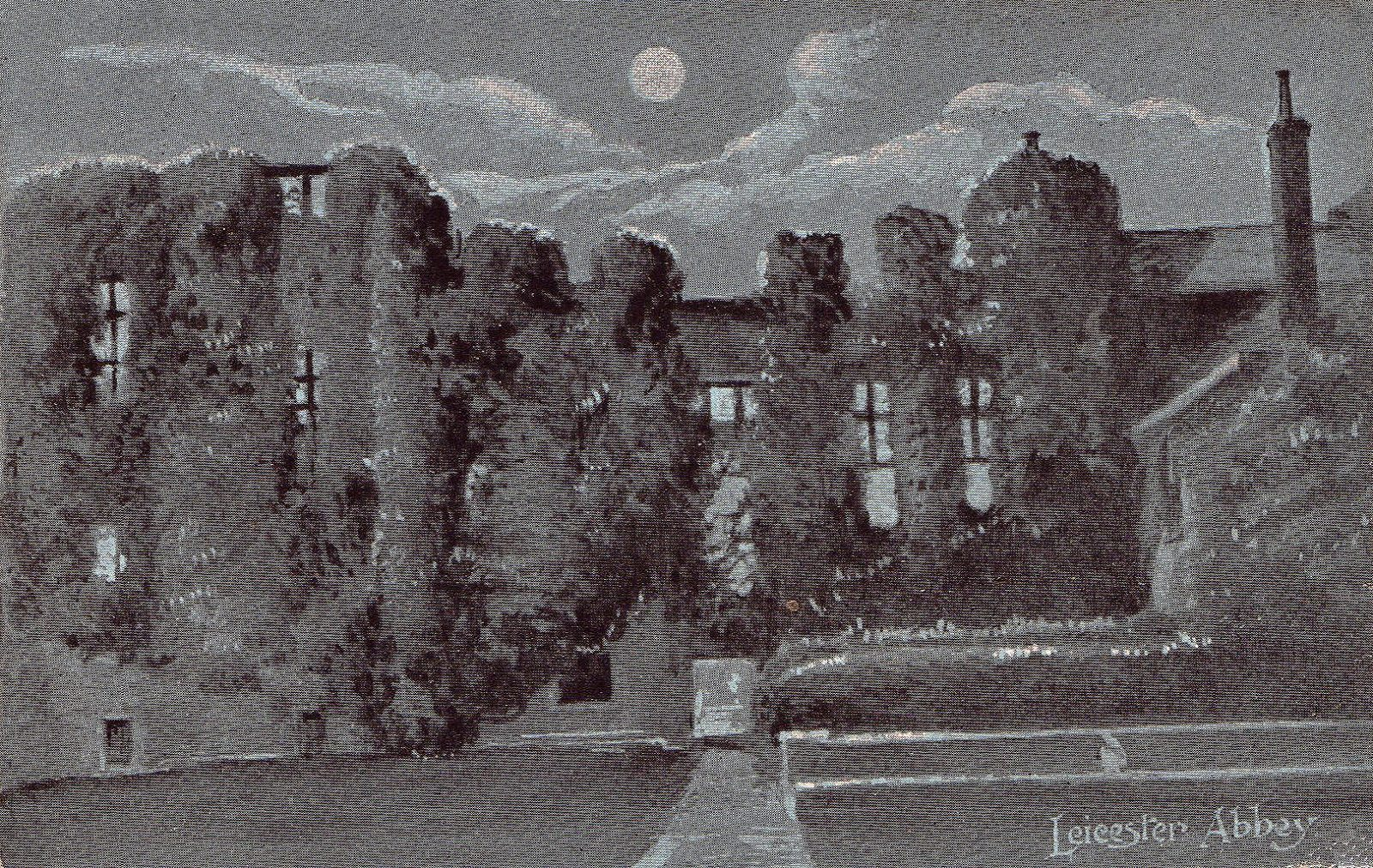 Leicester Abbey, Leicester. 1901-1920: Leicester Abbey ruins shot by moon light. Franked 1905 (File:1519)