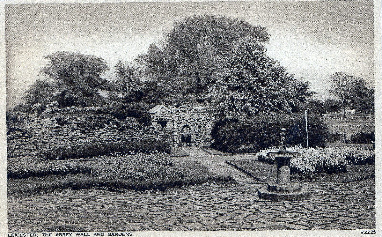 Leicester Abbey, Leicester. Undated: The Abbey wall and gardens (File:1520)