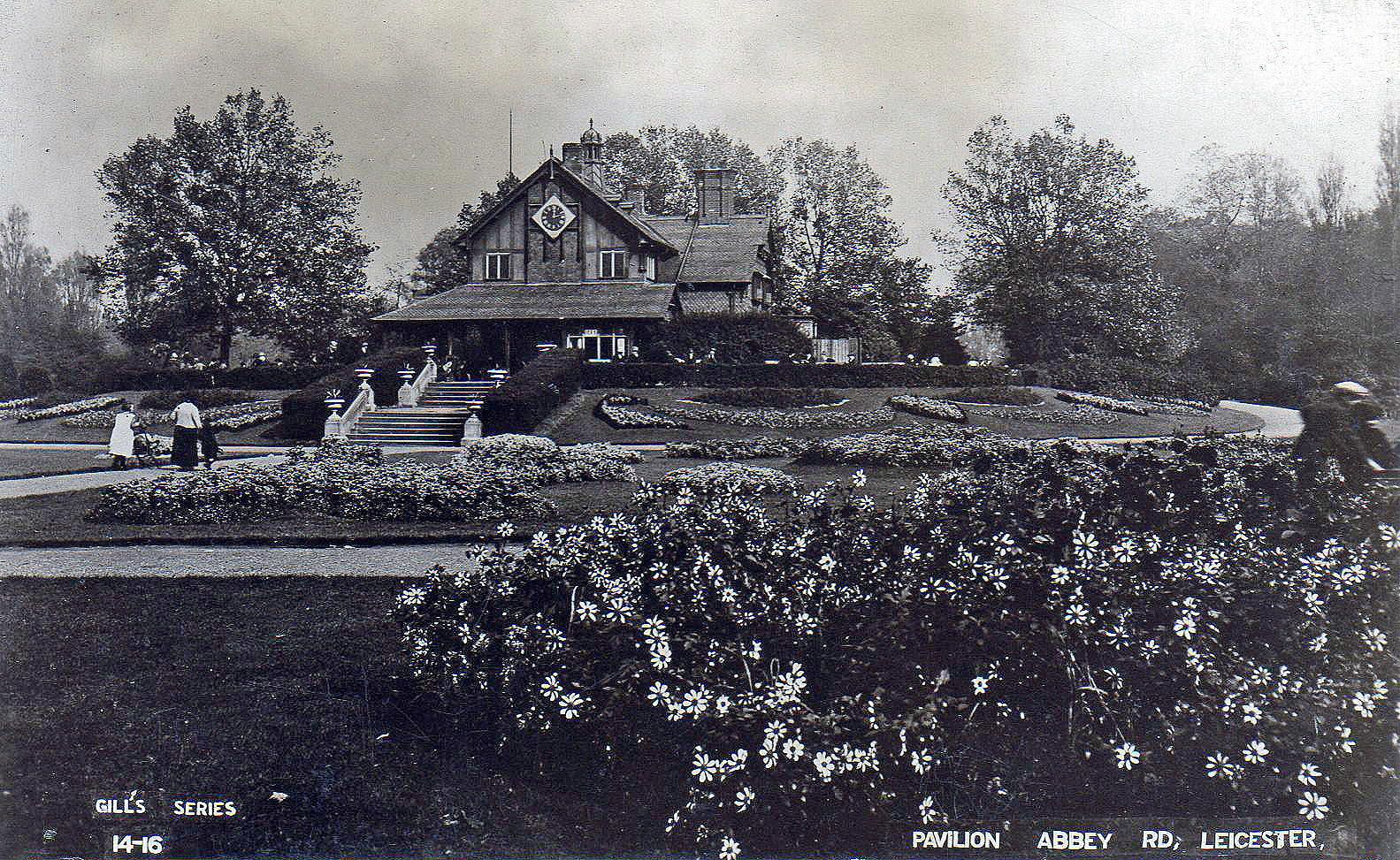 Abbey Park, Leicester. Undated: The pavilion with extensive flower beds (File:1530)