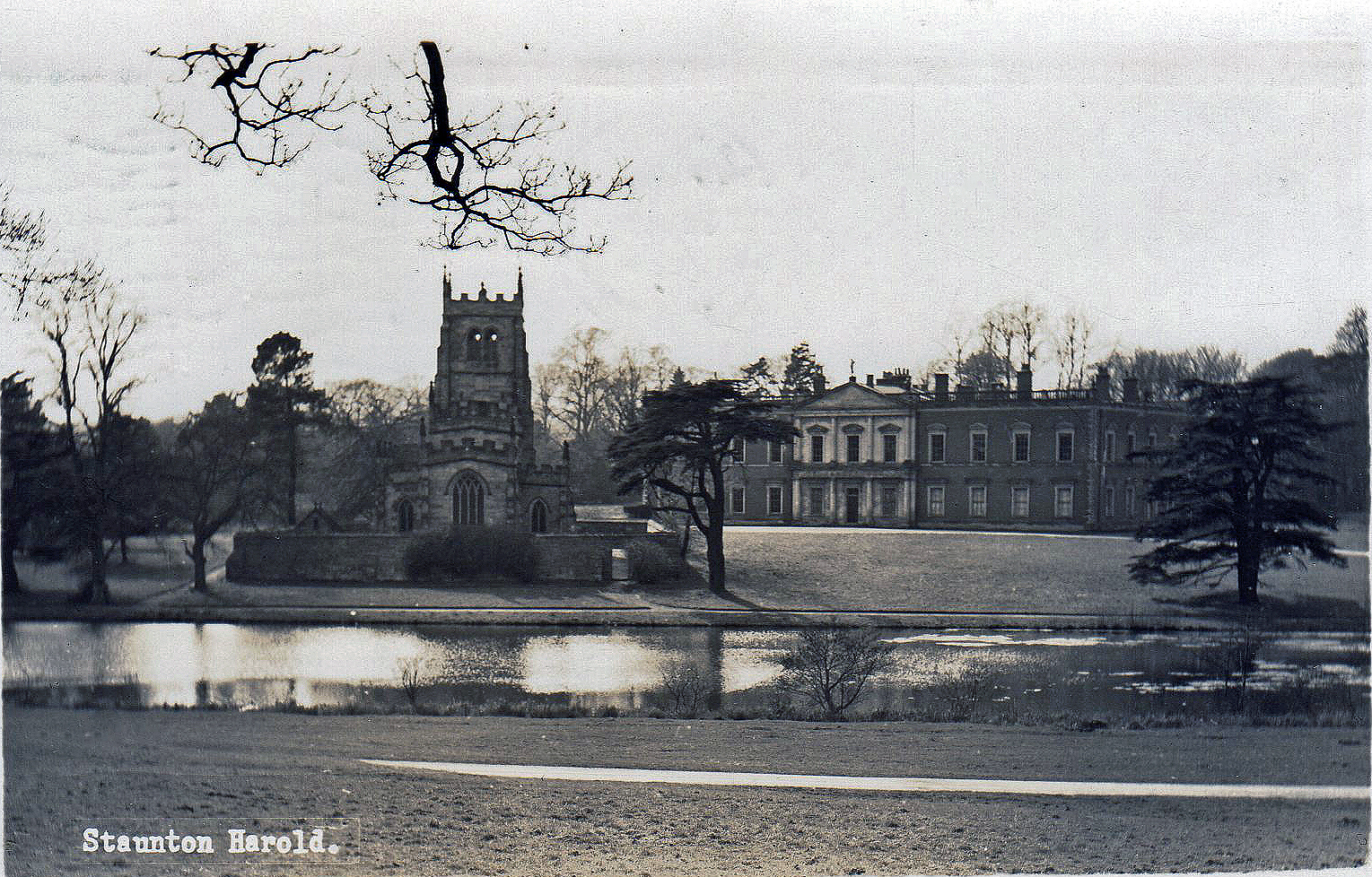 Staunton Harold Hall, Ashby-de-la Zouch. 1941-1960: The chapel and hall. Franked 1956 (File:1538)
