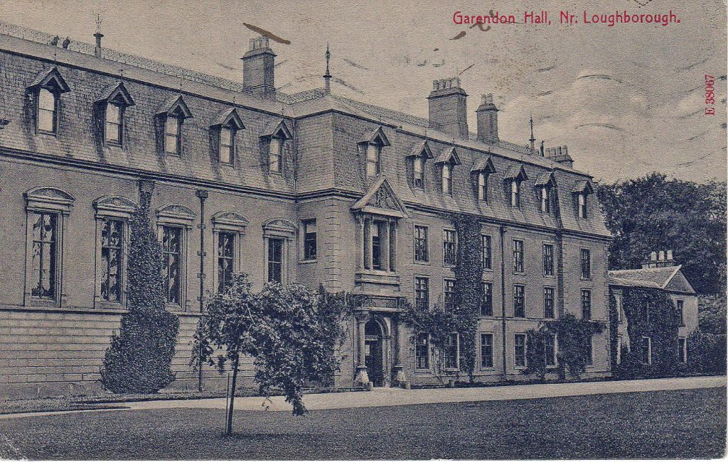 Garendon Hall, Loughborough. 1901-1920: Garendon Hall and garden. Franked 1916 (File:1546)