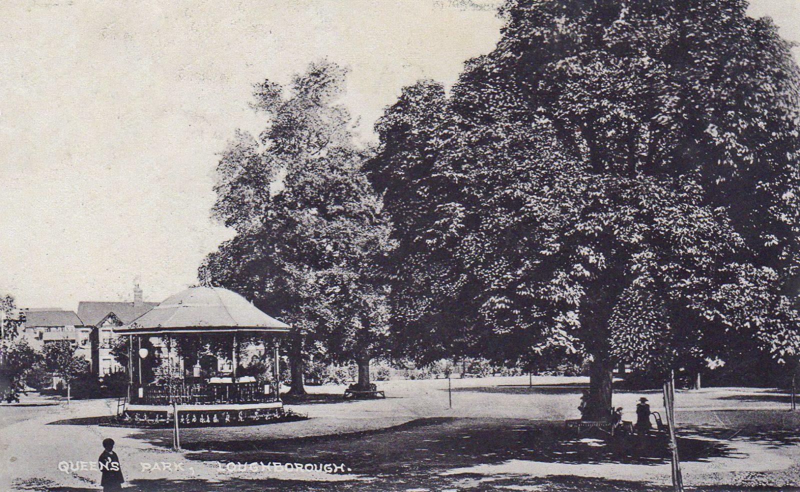 Queens Park, Loughborough. 1901-1920: Bandstand. Franked 1907 (File:1564)