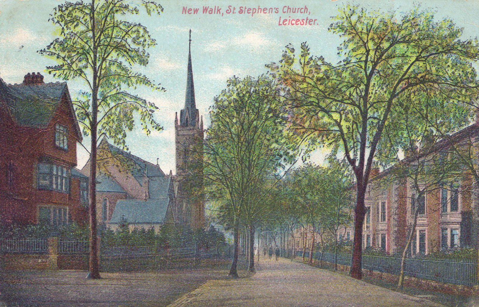 New Walk, Leicester. 1901-1920: St Stephen's church Franked 1906 (File:1566)